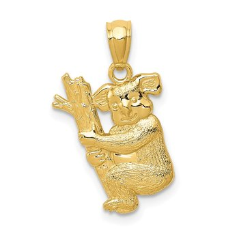 14k Yellow Gold Textured Koala Pendant