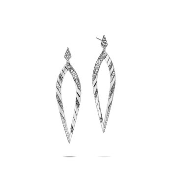 Lahar Marquis Drop Earring in Silver with Diamonds