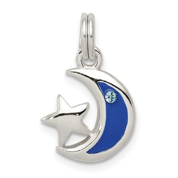 Sterling Silver Enameled CZ Star and Moon Charm