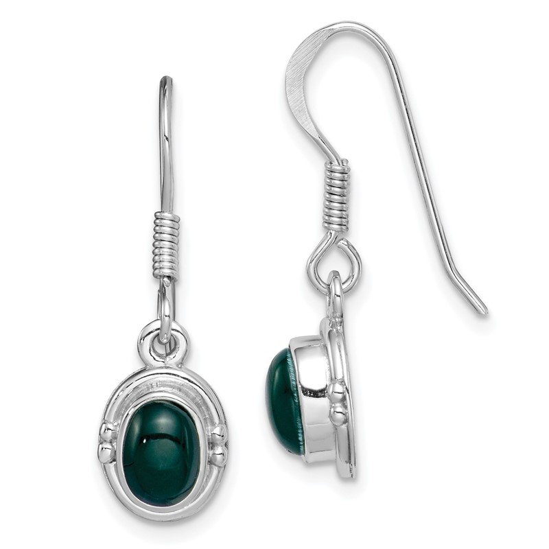 Quality Gold Sterling Silver Rhodium-plated Green Agate Oval Dangle Earring