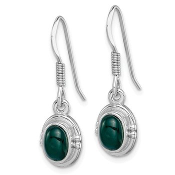 Sterling Silver Rhodium-plated Green Agate Oval Dangle Earring