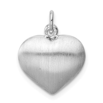 Sterling Silver Rhodium-plated Brushed/Polished Reversible Puffed Heart Pen