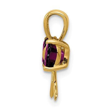 14k Gold Polished Rhodolite Bow Pendant