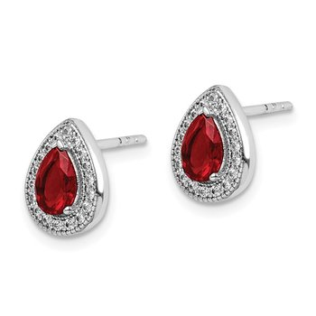 Sterling Silver Rhod Plated Red and Clear CZ Post Earrings