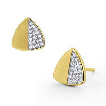 Diamond Triangular Stud Earrings Set in 14 Kt. Brushed Gold