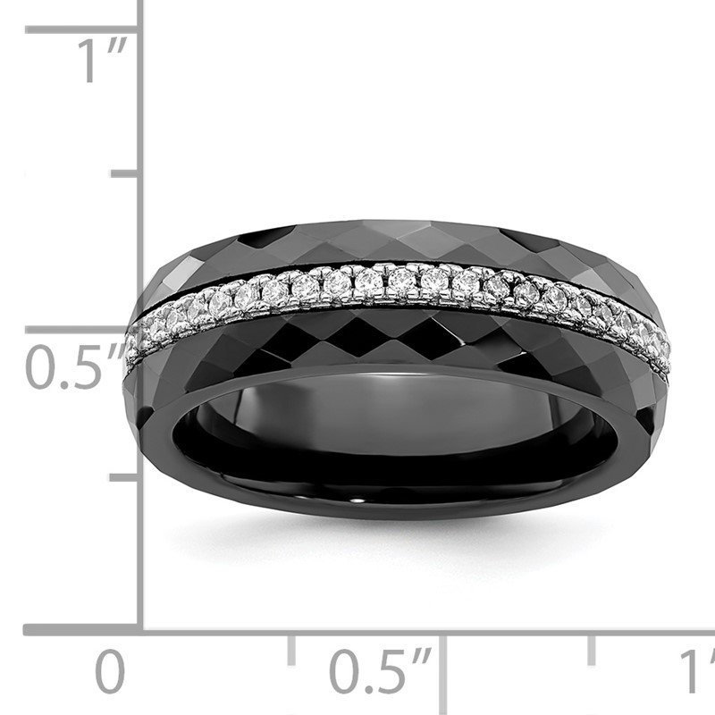 Quality Gold Sterling Silver Brilliant Embers Rhodium-plated CZ Ceramic Band Black Ring