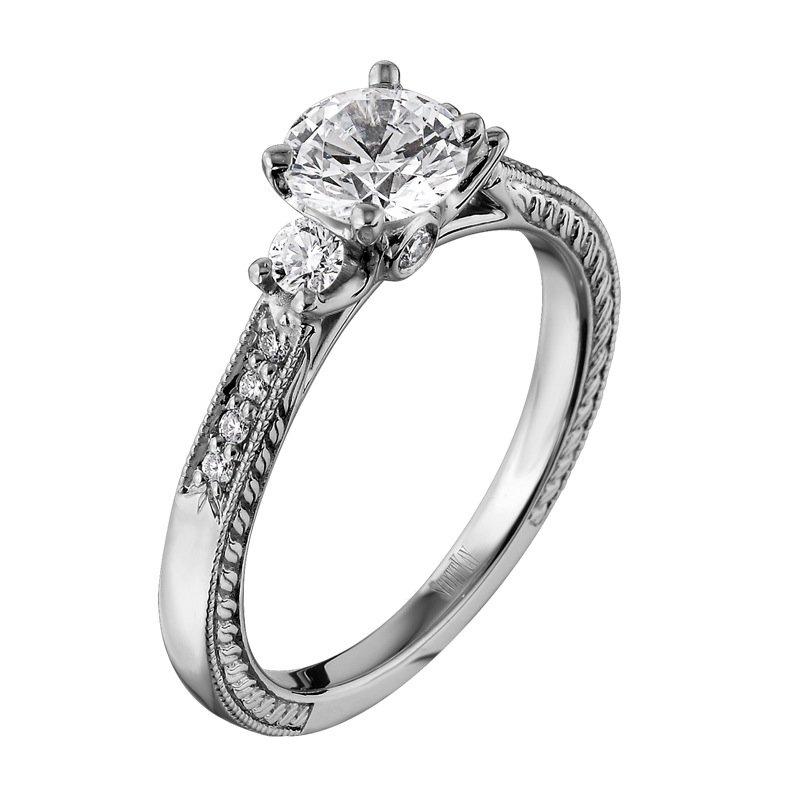 Scott Kay Palladium Engraved Three Sided Diamond Wedding: Motif Jewelers: Scott Kay M1186R307