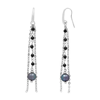 Honora Sterling Silver 6-7mm Black Ringed Freshwater Cultured Pearl Faceted Spinel Bead Chain Tassle Earrings