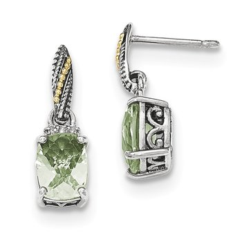 Sterling Silver w/14k Diamond and Green Quartz Dangle Post Earrings