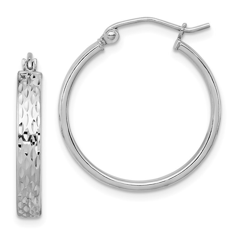 Quality Gold Sterling Silver Rhodium Plated Diamond Cut Hoop Earrings