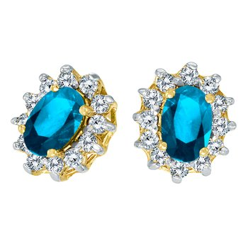 14k Yellow Gold Oval Blue Topaz and .25 total ct Diamond Earrings