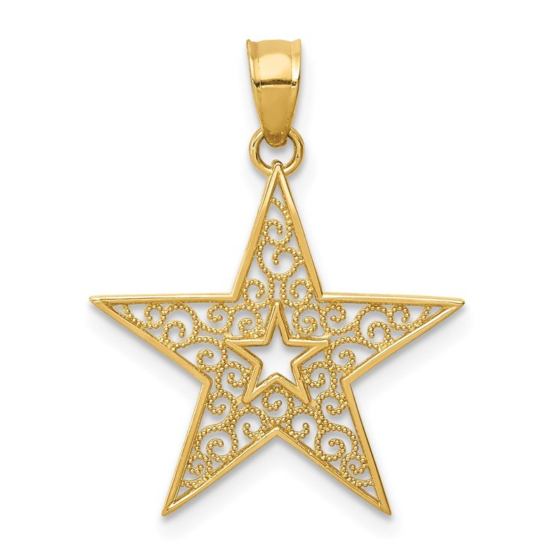 Quality Gold 14k Filigree Star Pendant