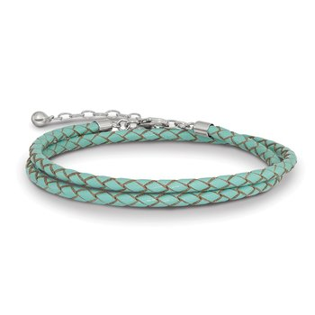 SS Reflections Teal Leather 14in w/2in ext Choker/Wrap Bracelet