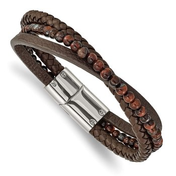 Stainless Steel Polished with Tiger's Eye Brown Leather 8.25in Bracelet