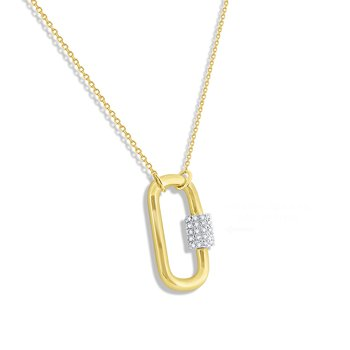 14k Gold and Diamond Charm Holder Necklace