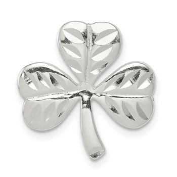 Sterling Silver Polished Diamond-cut Shamrock Chain Slide