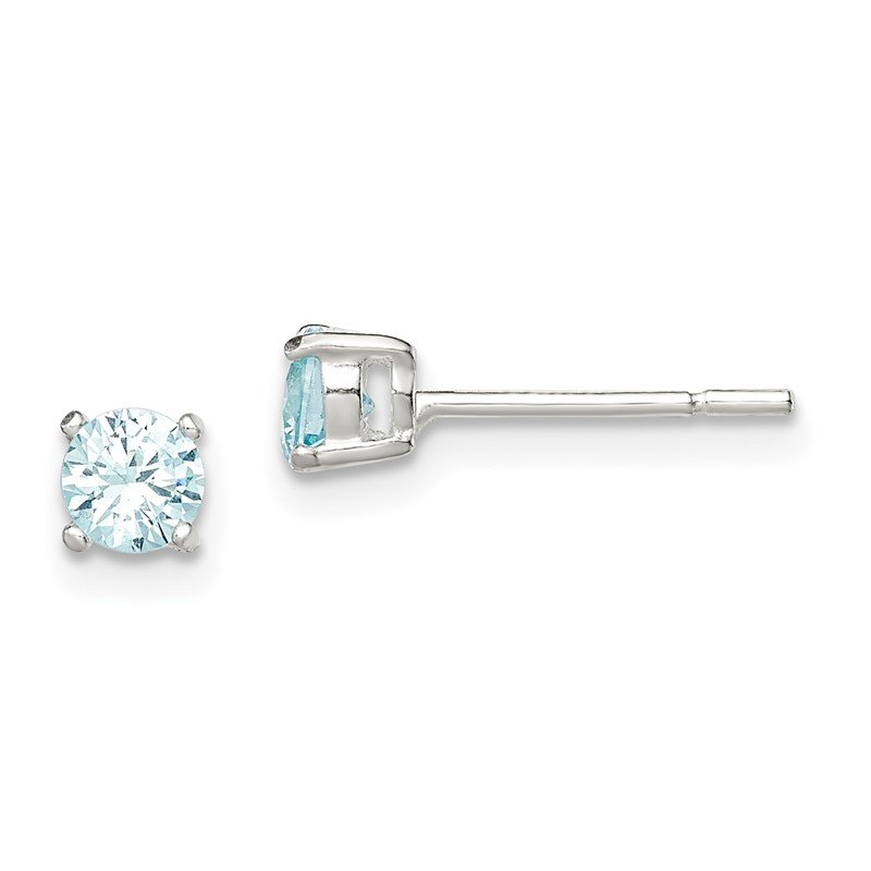 Quality Gold Sterling Silver Polished Light Blue CZ Post Earrings
