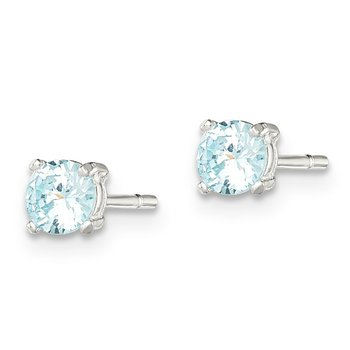 Sterling Silver Polished Light Blue CZ Post Earrings