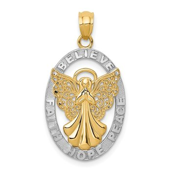 14K W/Rhodium BELIEVE PEACE FAITH HOPE Angel Pendant