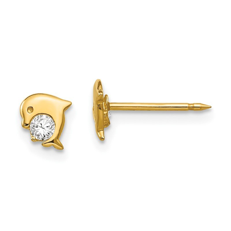 Quality Gold Inverness 14k Dolphin CZ Earrings