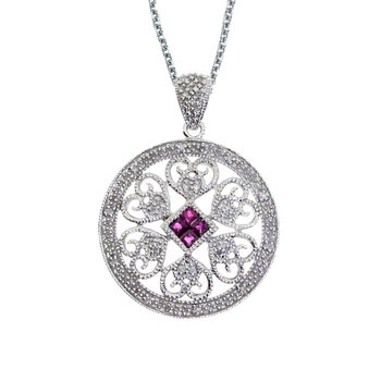 14k White Gold Ruby and Diamond Filigree Disc Pendant