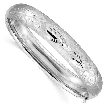 14k 7/16 White Gold Florentine Engraved Hinged Bangle