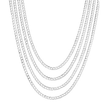 Silver Diamond Cut Multistrand Necklace
