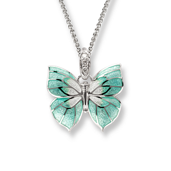 Sterling Silver Butterfly Necklace -Green. Diamonds.