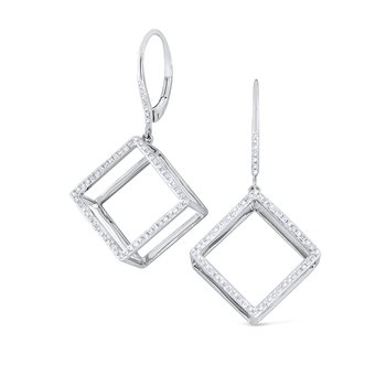 14K Gold and Diamond Cube Earrings