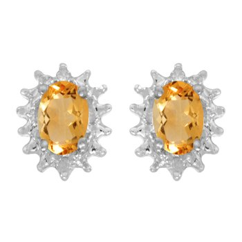 10k White Gold Oval Citrine And Diamond Earrings