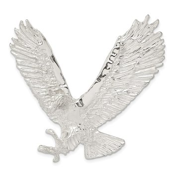 Sterling Silver Polished & Textured Eagle Chain Slide