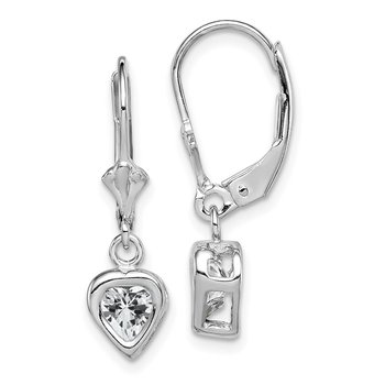 Sterling Silver Rhodium 5mm Heart CZ Leverback Earrings