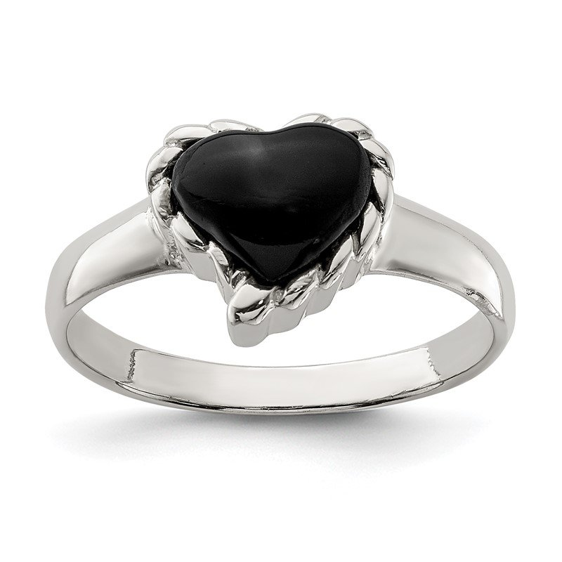 Quality Gold Sterling Silver Onyx Heart Ring