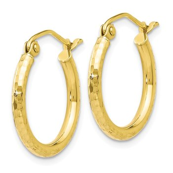 Leslie's 10K D/C Hinged Hoop Earrings