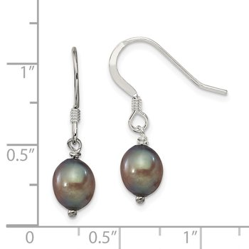 Sterling Silver Black FW Cultured Pearl Dangle Earrings