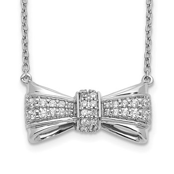 14k White Gold Diamond Bow Necklace