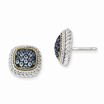 Sterling Silver w/14k and Black Rhodium Blue Topaz Post Earrings