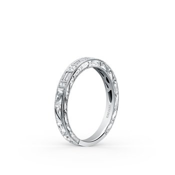 Baguette Diamond Engraved Wedding Band