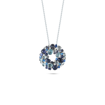 18KT GOLD WREATH PENDANT WITH DIAMONDS, IOLITE AND TOPAZ