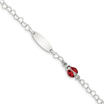 Sterling Silver Polished Lady Bug Baby Engraveable ID Bracelet