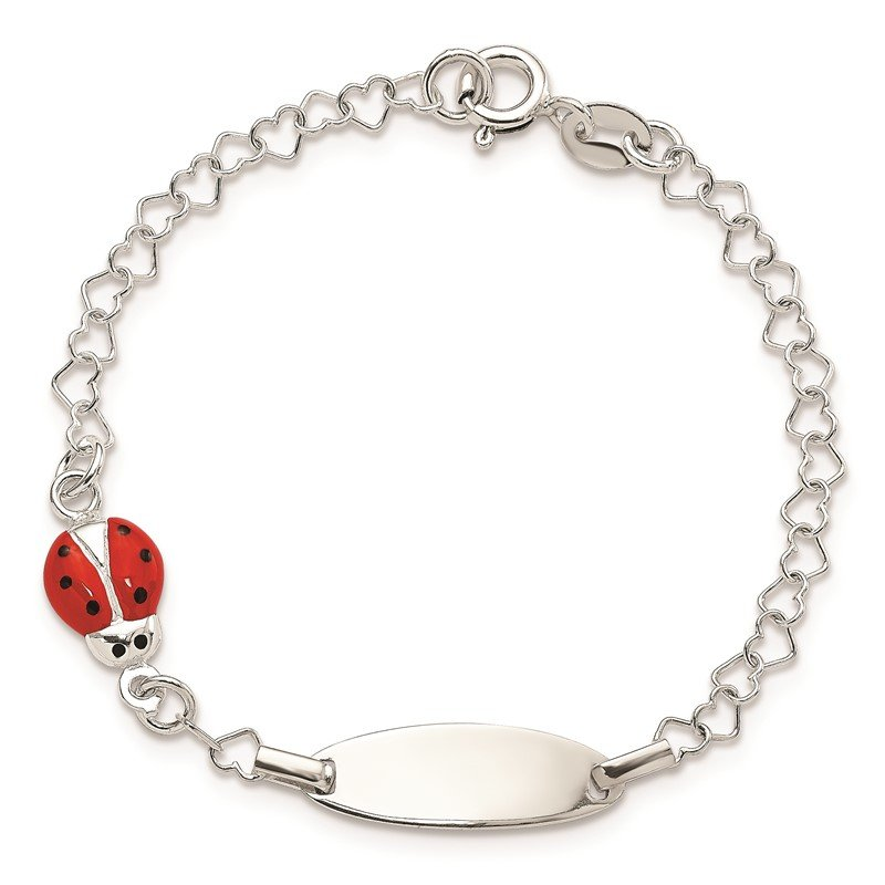 Quality Gold Sterling Silver Polished Lady Bug Baby Engraveable ID Bracelet
