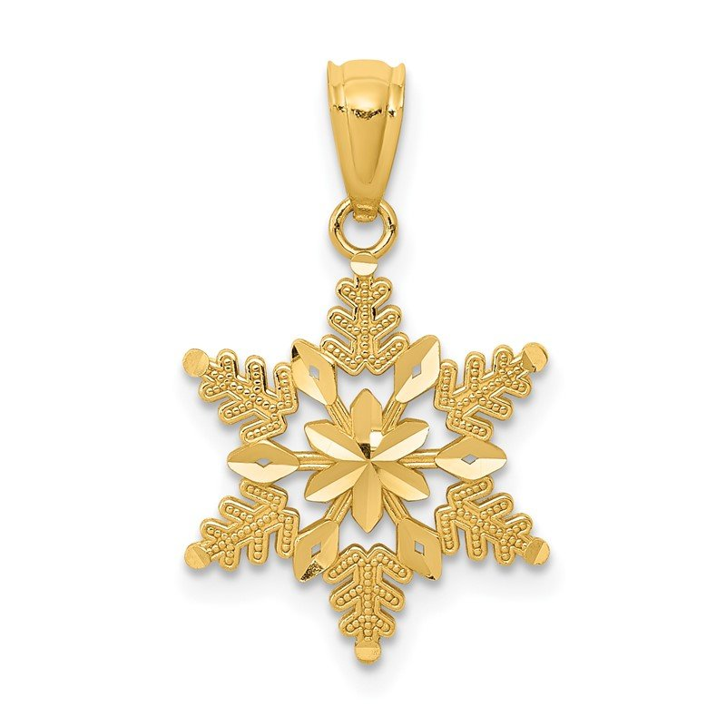 Quality Gold 14k Diamond-cut Polished Snowflake Pendant