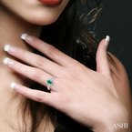 ASHI oval shape gemstone & diamond ring