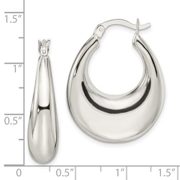 Sterling Silver Hollow Oval Hoop Earrings
