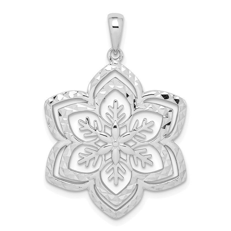 Quality Gold Sterling Silver Diamond-cut Snow Flake Pendant