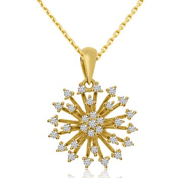 14k Yellow Gold Starburst Diamond Fashion Pendant