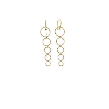 18KT GOLD 5 CIRCLE DROP EARRINGS