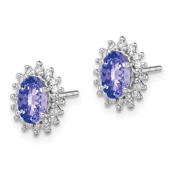 Sterling Silver Rhodium Plated Diamond Tanzanite Oval Post Earrings
