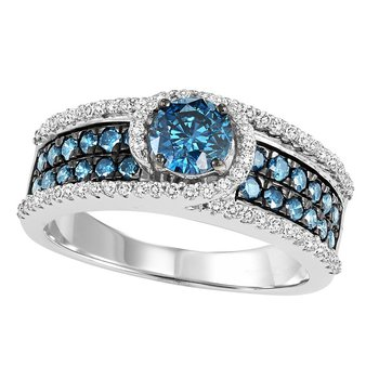 14K Diamond Blue & White Engagement Ring 1 3/8 ctw