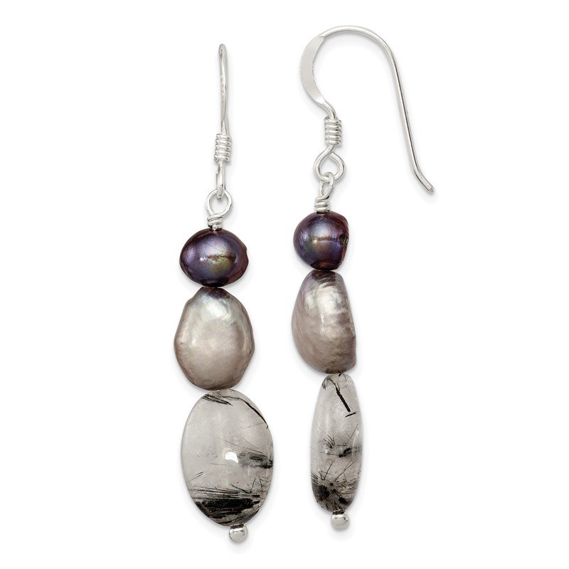Quality Gold Sterling Silver Tourmalinated Quartz/Grey FW Cultured Pearl Earrings